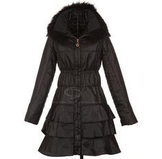 Zipper Faux Fur Turndown Collar Flouncing Quilted Coat