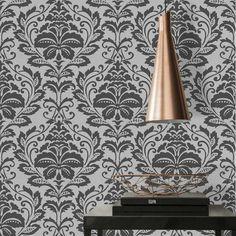 Silver & Black Metallic Damask Wallpaper - Default Title