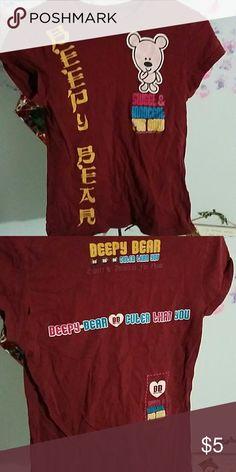 Beepy bear maroon tshirt Cute shirt for a younger gal Tops Tees - Short Sleeve