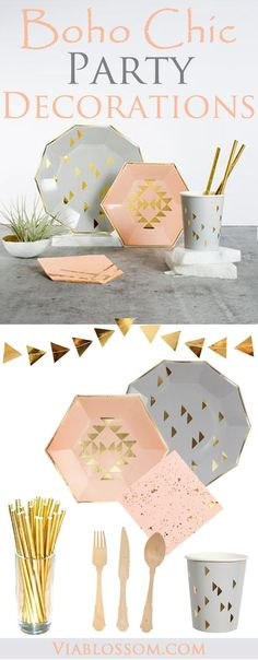 Boho Chic Party ideas for a fabulous Party! Our Party Supplies have a gorgeous mix of blush pink, gold and gray. They are perfect for a Bridal Shower, a Baby Shower or a Ladies Soiree! Gold Bridal Showers, Bridal Shower Party, Baby Shower Themes, Baby Shower Decorations, Wedding Decorations, Diy Shower, Shower Ideas, Bathroom Showers, 13th Birthday Parties