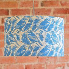 Jays And Acorns Lampshade Block Printed By Hand