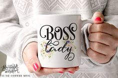 Boss Lady Coffee Mug, Ceramic mug, Boss Lady Mug Lady boss, Printable Wisdom, unique coffee mug gift coffee, hand lettered calligraphy