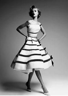 Frida Gustavsson in Dior Black White Sepia vintage chic