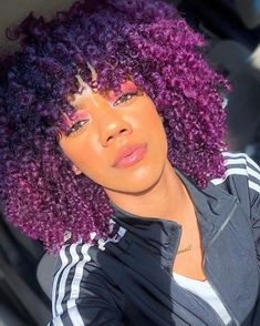 Arctic Fox hair color is vibrant, long-lasting, semi-permanent hair dye that is made in the USA. Purple Natural Hair, Purple Hair Black Girl, Dyed Natural Hair, Natural Hair Styles For Black Women, Dark Purple, Dyed Curly Hair, Colored Curly Hair, Medium Hair Styles, Curly Hair Styles
