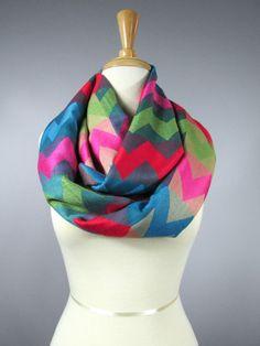Chevron infinity scarf - green, blue , magenta  scarf - pashmina scarf on Etsy, $27.00