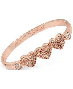 Betsey Johnson Rose Gold-Tone Triple Heart Pave Bangle Bracelet