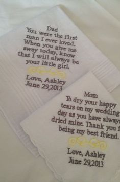 Set of Two Personalized WEDDING HANKIE'S Mother & Father of the Bride Gifts Hankerchief - Hankies. We both still have our Fathers but sadly both of our Mothers are deceased. Love this idea though! Wedding Wishes, Our Wedding, Wedding Gifts, Dream Wedding, Wedding Venues, Wedding Decor, Fall Wedding, Wedding Favors, Wedding Stuff