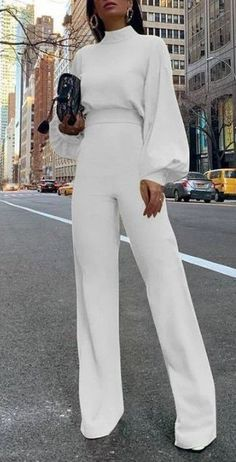 Fashion Bishop Sleeve Pure Colour Half Collar JumpsuitsYou can find Jumpsuits and more on our website. Fashion Moda, Suit Fashion, Fashion Outfits, Womens Fashion, Fashion 2020, Ladies Fashion, 90s Fashion, Style Fashion, Fashion Tips