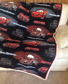 Mater/Lightning McQueen Fleece Blanket w/ Beautiful Crocheted Edge // Large Boy's Throw // Super Soft // Hand-Crocheted Stitching - Gift