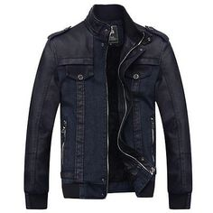 Men Coats And Jackets: New Fashion Mens Winter Warm Coat Jacket Fur Lined Collar Denim Leather Outwear BUY IT NOW ONLY: $52.74