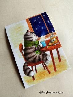 Cats postcards set 4 postcards pack cats by LaAmapolaRoja on Etsy