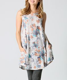 42POPS Brown Floral Pocket Swing Tunic by 42POPS #zulily #zulilyfinds