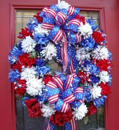 Door Wreath Starred & Spangled Patriotic Floral