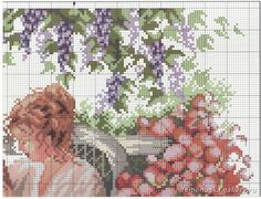Lazy Afternoon ~ Saved from elypetrova. Cross Stitch Fairy, Cross Stitch Books, Cross Stitch Embroidery, Hand Embroidery, Cross Stitch Patterns, Cross Stitch Pictures, Girl Reading, Blackwork, Artsy