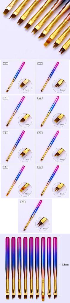 $1.99 1 Pc Gradient French Painting Pen UV Gel Drawing Brush Gradual Handle Manicure Nail Art Tool - BornPrettyStore.com
