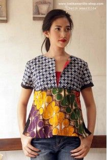 batik amarillis- use mt Fuji print and combine with 2 plain companion cplours African Print Dresses, African Print Fashion, Ethnic Fashion, African Dress, Love Fashion, Fashion Outfits, African Style, Blouse Batik, Batik Dress