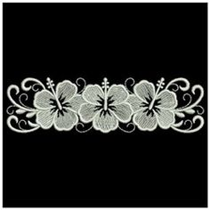 Ace Points Embroidery Design: Whitework Hibiscus Border 1.07 inches H x 3.84 inches W