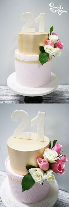 Sweet And Simple 21st Birthday Cake With Pink Waffle Texture Fresh Roses