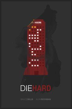 Die Hard (1988) ~ Minimal Movie Poster by Foursquare #amusementphile