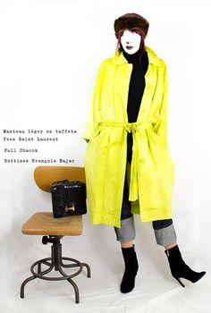 Look avec trench taffetas jaune citron 1980 YVES SAINT LAURENT RIVE GAUCHE © tous droits réserves