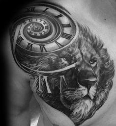 Lion With Spiral Roman Numerals Upper Chest Tattoos