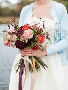 Bridal bouquet with carrots | Live View Studios | see more on: http://burnettsboards.com/2015/03/anne-green-gables-wedding-inspiration/