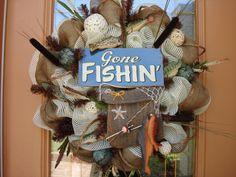 Deco Mesh Gone Fishing Wreath by DecoDzigns on Etsy Fabric Wreath, Diy Wreath, Burlap Wreath, Wreath Ideas, Camo Wreath, Burlap Ribbon, Baseball Wreaths, Football Wreath, Cute Crafts