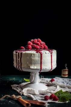 Adventures in Cooking: Raspberry Brown Butter Cake with Goat Cheese Buttercream & A Raspberry Port Reduction