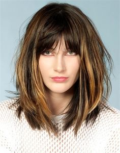long bob with bangs Bob Hairstyles 2018, Hairstyles With Bangs, Good Hair Day, Great Hair, Ombré Hair, New Hair, Medium Hair Styles, Short Hair Styles, Cabelo Ombre Hair