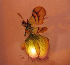 Silk Flower and Faerie Lights — Little Wing Faerie Art Butterfly Lamp, Flower Lamp, Giant Paper Flowers, Silk Flowers, Fabric Flowers, Polymer Clay Fairy, Plastic Bottle Crafts, Rainbow Roses, Fairy Lamp