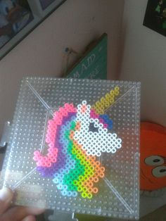 fuse beads Unicorn Pixel Art with Perler Beads Easy Perler Bead Patterns, Melty Bead Patterns, Perler Bead Templates, Diy Perler Beads, Perler Bead Art, Beading Patterns, Melty Beads Ideas, Melty Bead Designs, Kids Crafts