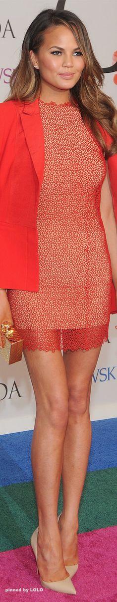 Chrissy Teigen in Rachel Roy 2014 CFDA Awards Red Carpet ◆ ♔LadyLuxury♔