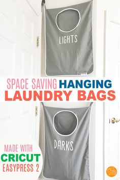 Use Your Cricut Easypress To Create Personalized Laundry Bags Sort Your Laundry With This Genius Laundry Hack. Love These Hanging Laundry Bags For Small Spaces, Bathrooms, Dorm Rooms, Kids Rooms, The Laundry Room And More Officialcricut Sorting Clothes, Laundry Sorting, Laundry Bags, Laundry Closet, Dorm Room Crafts, Dorm Rooms, Kids Rooms, Homemade Wall Decorations, Room Decorations