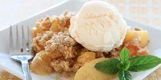 Slow Cooker Peach Crisp - Quick and EASY Dessert!  www.GetCrocked.com