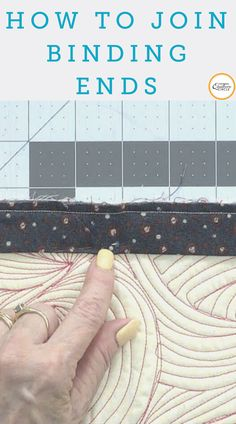 When attaching a binding to your quilt, whether big or small, joining the binding ends can be tricky.  In this video, Toby Lischko demonstrates four different ways to join quilt binding ends when binding you quilt, starting with one of the easier methods and progressing to ones that are harder. Sewing Tips, Sewing Hacks, Sewing Ideas, Sewing Crafts, Sewing Projects, Quilting Tips, Quilting Tutorials, Hand Quilting, Machine Quilting