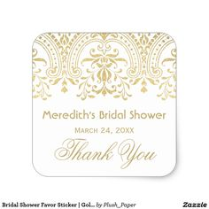 Bridal Shower Favor Sticker | Gold Vintage Glamour Elegant vintage inspired wedding bridal shower favor stickers feature an ornate decorative border design with a metallic champagne gold shimmer appearance. Personalize the custom text with the bride's name and event date. White background can be customized.