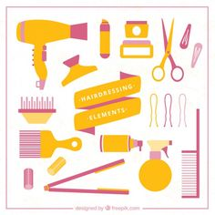 Yellow beauty salon element collection Free Vector