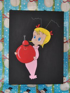 Grinch Stole Christmas  Cindy Lou Canvas Painting Artwork Wall Artwork Holiday  Kids Bedroom Living Room Christmas