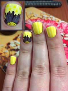 Yellow daisy nail art. Stripes, polka dots and flower! Nail art, nail trends, summer nails, spring nails.