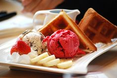 waffle with ice cream is the best