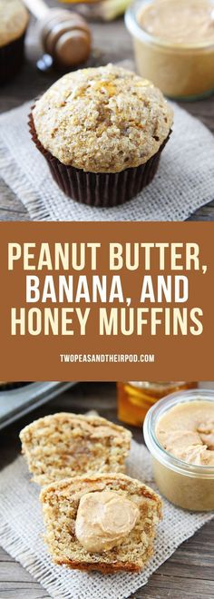 Peanut Butter, Banana, and Honey Muffins make a great breakfast or healthy snack! If you like the classic sandwich, you will LOVE these muffins!