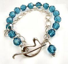 Blue Swarovski Crystal and Sterling Silver Double-Stranded Bracelet,