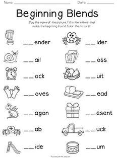 Free blending worksheets for second grade