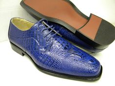 Bolano Mens Navy and Light Blue Crocodile Print Dress Shoes 848 ...
