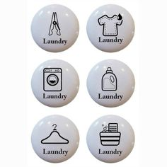 Set Of 6 Laundry Theme Ceramic Knobs Pull Kitchen Drawer Cabinet Bar Closet  611 Trendyhomedeco,