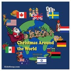 """Join KidsSoup and Santa Claus as he visits 10 different countries and brings back souveniers (see emergent reader booklet """"Santa, Santa, What Can You See?). Invite children on a trip around the world to visit other continents and countries and experience"""