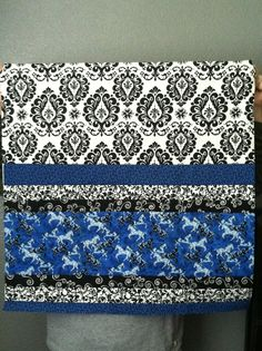 """4/30. 7-16-13. 29"""" square. Royal blue with black and white and horses"""