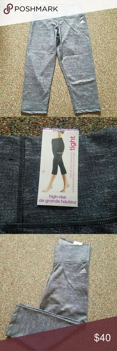 Adidas Performance Womens Performer High Rise 3/4 New, never worn, with tags.  Dark gray 3/4 tights with a high rise waistline to help tighten, tone and smooth. Adidas Pants Leggings