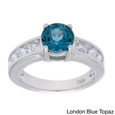 Oravo Sterling Silver Round-cut Gemstone and Square Cubic Zirconia Ring (London Blue Topaz Size 9), Women's