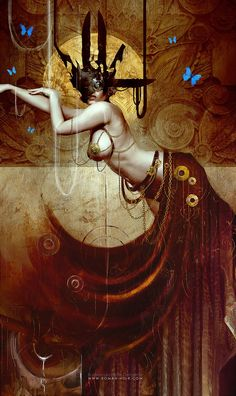 The dark and beautiful fantasy paintings of Bastien Lecouffe Deharme, French artist, illustrator, digital painter and novelist. Dark Fantasy Art, Fantasy Artwork, Fantasy Girl, Dark Art, Image 3d, Wow Art, Alphonse Mucha, Erotic Art, Oeuvre D'art